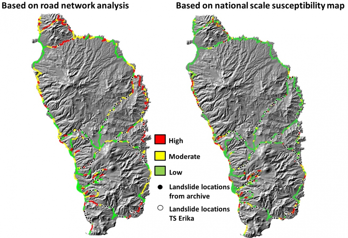 Right Landslide Susceptibility Of The Road Network Taken From The National Scale Landslide Map